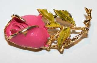 Vintage Estate Flower Rose Jewelry Pin Brooch Nice Pink / Golden Color