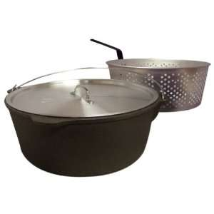 King Kooker CI85B 8 1/2 Quart Cast Iron Pot with Aluminum Lid and