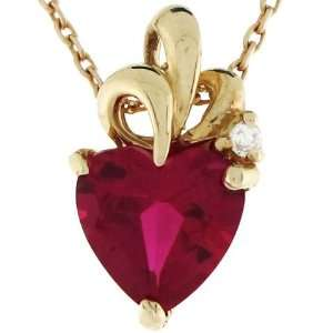 10k Gold Heart Red CZ July Birthstone Charm Pendant Jewelry
