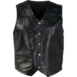 Mens Black Leather 5 Snap Motorcycle Biker Riding Vest