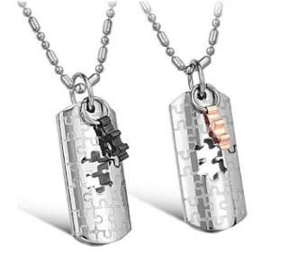316L Stainless Steel I Love You Wedding Puzzle Couple Necklaces