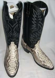 NEW AMERICAN WEST Natural PYTHON Snake Skin 9.5 EW Black Leather