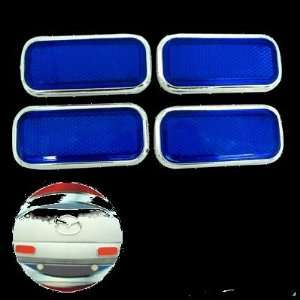 Cube Car Bumper Reflector Guard Set Blue with Silvery Rim 4 Pieces (HL