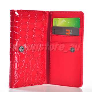 RED CROCODILE LEATHER WALLET CASE COVER CARD POUCH FOR NOKIA N8 N9