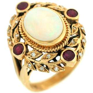 Ruby & Diamonds Ladies Antique Cocktail Ring 14k Yellow Gold