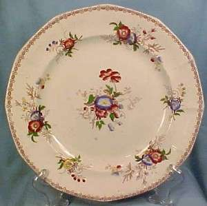 Antique FLORAL MULBERRY TRANSFERWARE DINNER PLATE Morning Glory & Rose