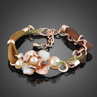 18K rose gold GP swarovski crystal flower bracelet B8
