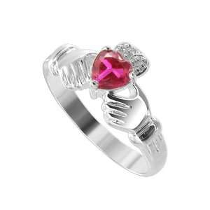 Sterling Silver 5mm Heart Band Ruby Cubic Zirconia Claddagh Ring Size
