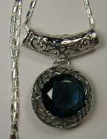 Blue Sapphire Sterling Silver 925 Filigree Pendant Necklace New