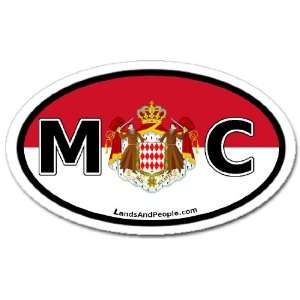 Monaco MC Flag Car Bumper Sticker Decal Oval Automotive