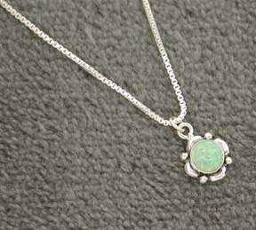Sterling Silver Green Opal Pendant Necklace NEW