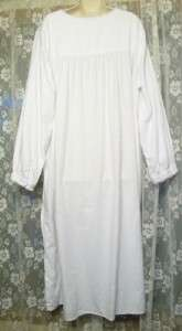 Lovely TALBOTS Bright WHITE COTTON FLANNEL Gown~LONG Full NIGHTGOWN