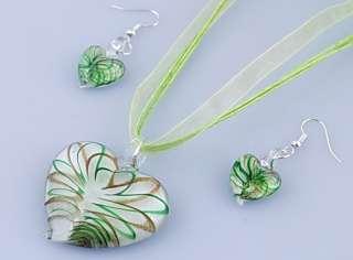 Lampwork Murano Glass Heart Love Bead Pendant Necklace Earrings