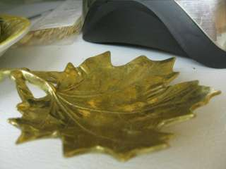 Antique Vintage Solid Brass Sugar Maple Leaf Tray Virginia
