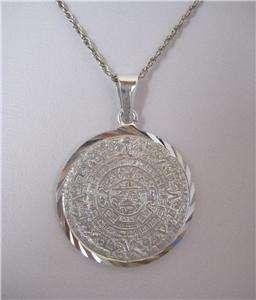 Mayan Mexican 950 Silver Shiny HUGE AZTEC SUN CALENDAR Big Pendant