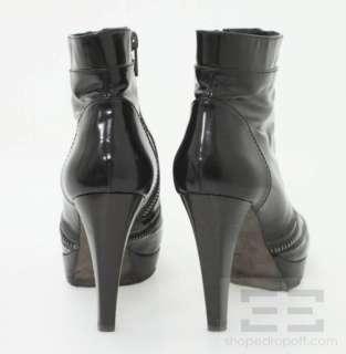Proenza Schouler Black Leather Zipper Front Platform Ankle Boots