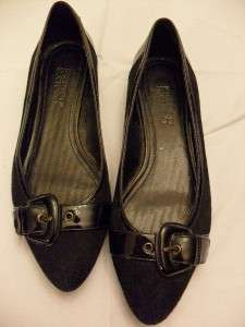 FRANCO SARTO BLACK LEATHER FLATS SZ 7 M SASSY CHIC COMFY SOFT MINT