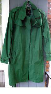 Talbots Trench Rain Coat Green Yellow Cotton PLUS NWT