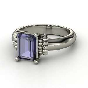 Beluga Ring, Emerald Cut Iolite Sterling Silver Ring