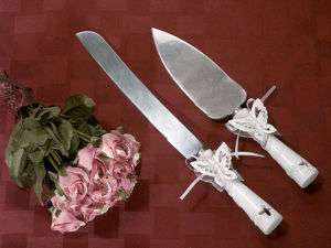 BUTTERFLY WEDDING CAKE AND KNIFE SERVER SET BRIDAL