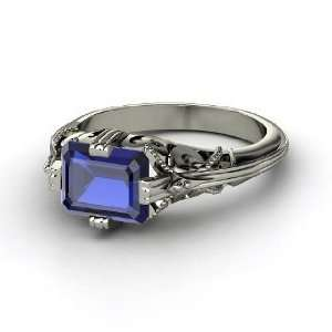 Acadia Ring, Emerald Cut Sapphire Palladium Ring Jewelry
