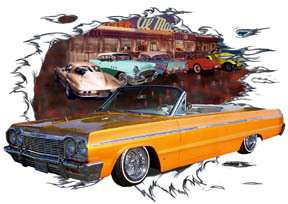1964 Gold Chevy Impala Convertible Custom Hot Rod Diner T Shirt 64
