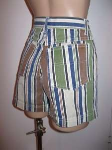 juniors VINTAGE striped HIGH WAIST denim SHORTS nice 1