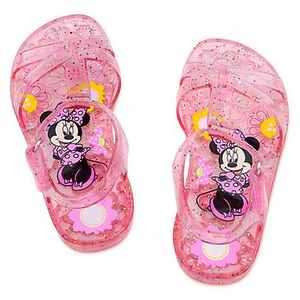 NEW Disney Minnie Mouse Girls Pink Glitter Jelly Summer Sandals Sz 8 9