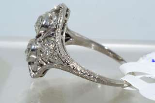 22CT ANTIQUE ART DECO OLD MINER CUT DIAMOND RING VS PLAT SIZE 6