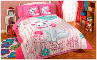 Girls Pink White Kittie Kitten Cat Marie Comforter Bedding Set Full 4