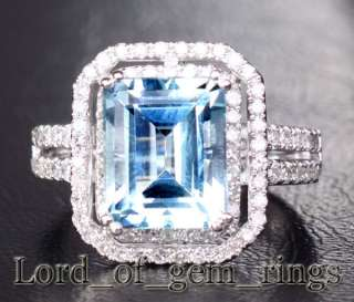 Aquamarine .48ct Diamond 14K White Gold Engagement Ring