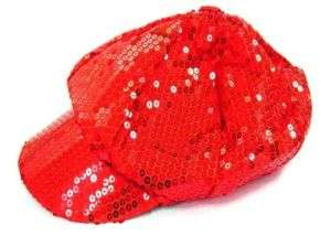 FASHION SPARKLING RED SEQUIN BASEBALL CAP ladies hat