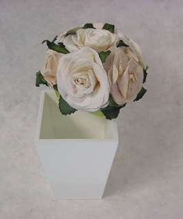 Natural Paper Rose Flower on open top Wooden Pot Gift Box Party