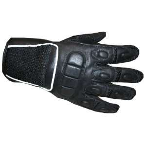 Womens Black Mesh Leather Motorcycle PU Gloves M Automotive