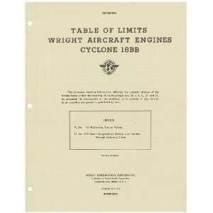 Cyclone 18 BB Aircraft Engine Limits Manual Wright R 3350 Cyclone 18