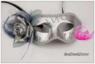 Silver Rose Carnival Mardi Gras Venetian Costume Masquerade Party Mask