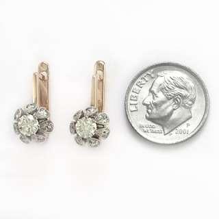 12CT Diamond Earrings 14k Rose & White Gold Russian