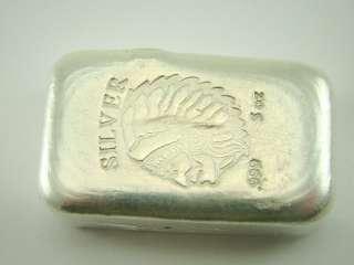 Silver Bar 5 Troy Oz Indian Head .999 Ingot Bullion OZT (#157)