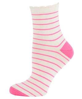 Pink Pattern (Pink) White Neon Pink Striped Ankle Socks  251336279