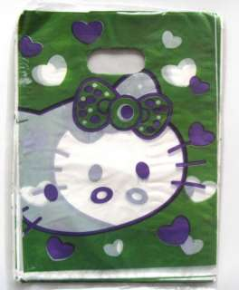New 50pcs Hello Kitty plastic gift bag green