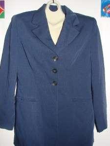 2pc Navy Blue Blazer Pleat Skirt Career Suit Polyester Rayon Ladies 4