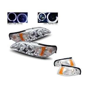 Mustang Chrome CCFL Halo Projector Headlights 1PC + Corner Lights
