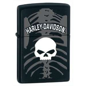 Zippo Harley Davidson Lighter White Skull With Gray