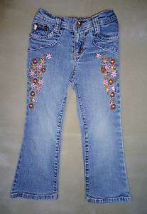 Bongo Girl PINK Rhinestones flowers embroidery blue Boot Cut Jeans 4 T