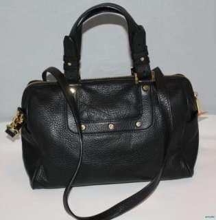 Auth. Tory Burch Amanda Dome Satchel Shoulder Crossbody Black Handbag