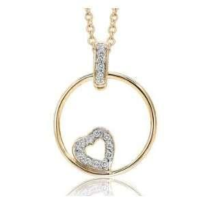 14k Yellow Gold Circle Pave Diamond Heart Pendant Jewelry