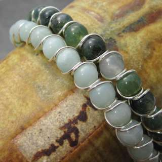 Moss Agate Beaded Sterling Silver Wire Wrapped Bracelet
