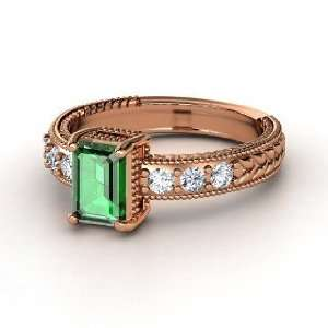 Emerald Isle Ring, Emerald Cut Emerald 18K Rose Gold Ring