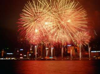 Fireworks Display Over Victoria Harbour for Chinese New Year, Hong