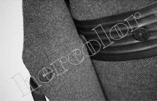 New Fox Fur Collar Dark Gray Wool Jacket Long Trench Coat